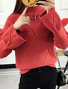 baratos Suéteres de Mulher-Mulheres Diário Sólido Manga Longa Curto Pulôver, Decote Redondo Outono Vermelho / Verde Tropa / Khaki Tamanho Único / Frufru