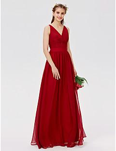 billige Mønstrede og ensfargede kjoler-A-linje Prinsesse V-hals Gulvlang Chiffon Blonder Brudepikekjole med Blonder Belte / bånd Kryssdrapering av LAN TING BRIDE®