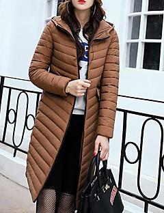 Damen Daunen Mantel,Lang Street Schick Ausgehen Lässig/Alltäglich Solide-Baumwolle Baumwolle Langarm