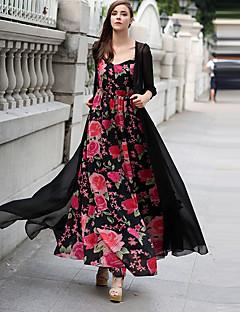 tanie SS 18 Trends-Damskie Boho Sukienka swingowa Sukienka - Jendolity kolor, Frędzel W serek Maxi
