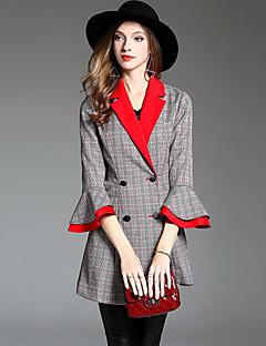 Damer Normal Houndstooth mønster Efterår Vinter Simple Gade Sofistikerede I-byen-tøj Afslappet/Hverdag Blazer,Polyester