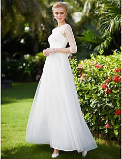 preiswerte Hochzeitskleider-A-Linie Illusionsausschnitt Knöchel-Länge Spitze mit Tüll-Overlay Maßgeschneiderte Brautkleider mit Applikationen / Schleife(n) / Mit