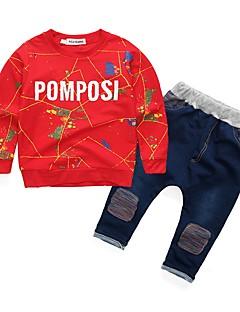 billige Tøjsæt til piger-Pige Tøjsæt Bogstaver, Bomuld Akryl Alle årstider Langærmet Sødt Afslappet Aktiv Rød Lyseblå Lysegrå Marineblå