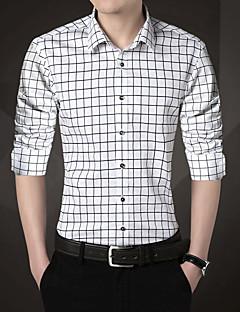 Polyester Skjortekrage Skjorte Ruter Gatemote Ut på byen Herre