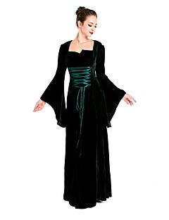 Vintage Ortaçağ Rönesans Kostüm Kadın's Tek-parça Elbiseler Cosplay Kostümleri Maskeli Balo Siyah Eski Tip Cosplay Polyester Uzun Kollu