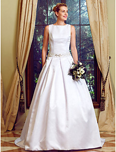 Ball Gown Jewel Neck Sweep Brush Train Lace Satin Wedding Dress With Beading Appliques Sashes