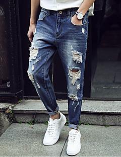 Herren Freizeit Mittlere Hüfthöhe Mikro-elastisch Jeans Hose Ganzjährig Solide