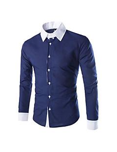 billige Herremote og klær-Bomull Langermet,Skjortekrage Skjorte Hundetannmønster Chinoiserie Fritid/hverdag Herre