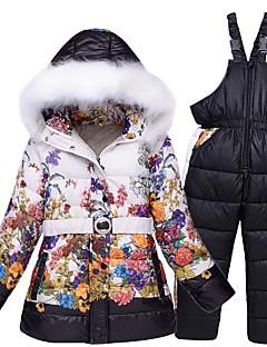 Девочки Лыжная куртка и брюки Теплый Водонепроницаемость С защитой от ветра Пригодно для носки Воздухопроницаемость Катание на лыжах