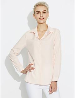 billige Overdele til damer-Krave Dame - Ensfarvet Bomuld, Ren Farve Skjorte
