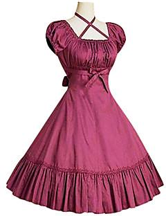 Sweet Lolita Dress Princess Women's One Piece Dress Cosplay Black Gray Fuschia Puff/Balloon Short Sleeves