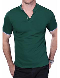 お買い得  メンズポロシャツ-男性用 週末 プラスサイズ Polo, 活発的 スタンド スリム ソリッド コットン