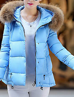 cheap Women's Downs & Parkas-Women's Daily Holiday Cute Casual Street chic Solid Hooded Regular Down, Long Sleeves Winter Cotton