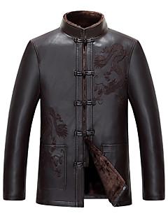 Χαμηλού Κόστους Men's Leather Jackets-Ανδρικά Jeci Piele Κινεζικό στυλ / Εκλεπτυσμένο - Μονόχρωμο Όρθιος Γιακάς / Μακρυμάνικο