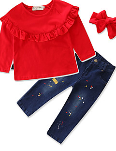 Girls' Solid Striped Floral Sets,Cotton Fall Spring, Fall, Winter, Summer Long Pant Clothing Set