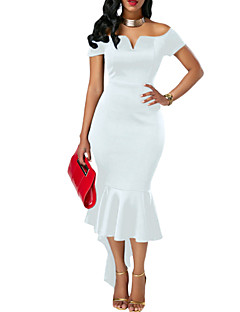 Χαμηλού Κόστους -Γυναικείο Πάρτι Κλαμπ Σέξι Εφαρμοστό Φόρεμα,Μονόχρωμο Κοντομάνικο Χαμόγελο Ασύμμετρο Πολυεστέρας Spandex Καλοκαίρι Ψηλοκάβαλο Ελαστικό