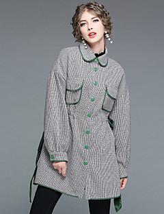 レディース お出かけ カジュアル/普段着 秋 冬 コート,ストリートファッション シャツカラー プリント ロング ポリエステル100% 長袖 リボン