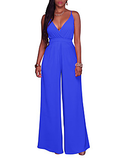 Women's Party Going out Casual Sexy Solid Strap JumpsuitsWide Leg Sleeveless Summer Fall Polyster