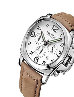 MEGIR Herrn Armbanduhren für den Alltag Modeuhr Kleideruhr Armbanduhr Quartz Kalender Leder Band Freizeit Cool