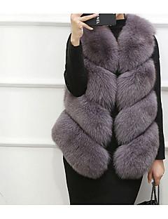 Damen Solide Einfach Freizeitskleidung Lässig/Alltäglich Weste,V-Ausschnitt Herbst Winter Ärmellos Kurz Kunst-Pelz