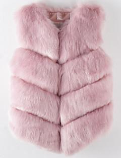 Damen Solide Einfach Lässig/Alltäglich Weste,V-Ausschnitt Winter Ärmellos Standard Andere