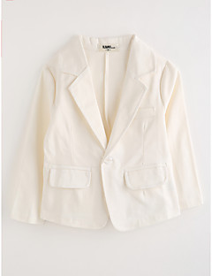 baratos -Para Meninos Terno & Blazer Sólido Algodão Manga Longa Branco