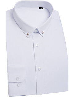 cheap Shirts-Men's Wedding Work Chinoiserie Shirt,Solid Classic Collar Long Sleeves Polyester Medium