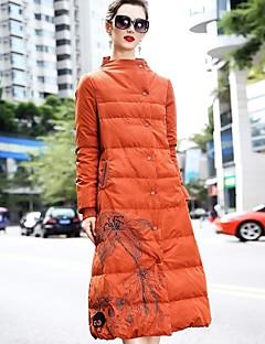 Feminino Longo Casaco Duvet,Simples Temática Asiática Sólido Wear to work Roupa Diária-Poliéster Manga Longa