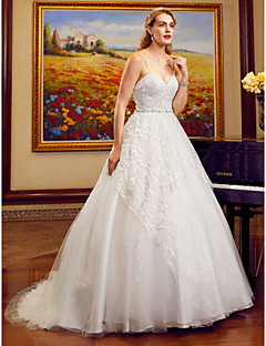 Ball Gown Spaghetti Straps Cathedral Train Lace Tulle Wedding Dress With Beading Appliques Sashes Ribbons By LAN TING BRIDER