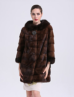 BF-Fur Style Women's Going out Simple Winter Fur Coat,Solid V Neck 3/4 Length Sleeves Long Fox Fur