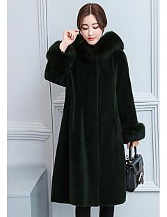 저렴한 -여성용 솔리드 후디 긴 소매 모피 코트,단순한 캐쥬얼 일상 긴 인조 모피 겨울
