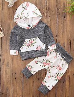 billige Tøjsæt til piger-Pige Tøjsæt Blomstret Farveblok, Bomuld Polyester Efterår Forår, Efterår, Vinter, Sommer Langærmet Sødt Aktiv Grå