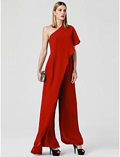 billiga Balklänningar-Jumpsuit Enaxlad Golvlång Chiffong Bröllopsfest / Helgdag Klänning med Draperad av TS Couture®