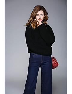 baratos Suéteres de Mulher-Mulheres Para Noite Manga Longa Pulôver - Sólido / Gola Redonda