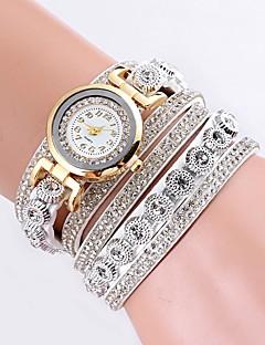 billige Armbåndsure-Dame Quartz Armbåndsur Kinesisk Hot Salg PU Bånd Afslappet Simuleret Diamond Watch Unikke kreative ur Sort Hvid Blåt Rød Brun Lilla Marine