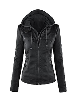 cheap Women's Blazers & Jackets-Women's Leather Jacket - Solid, Beaded V Neck