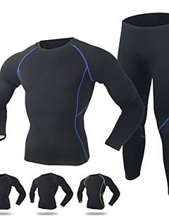 cheap Cycling Clothing-Men's Long Sleeves Cycling Jersey with Tights - Black Red Green Blue Bike Quick Dry