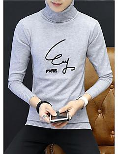 tanie Męskie swetry i swetry rozpinane-Męskie Golf Długi Pulower Jendolity kolor Długi rękaw