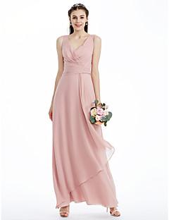 billige Romantisk rosa-A-linje Prinsesse V-hals Ankellang Chiffon Brudepikekjole med Plissert Kryssdrapering av LAN TING BRIDE®