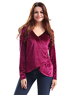 Feminino Camiseta Feriado Casual Vintage Moda de Rua Primavera/Outono Primavera/Outono/Inverno/Verão,Sólido Vintage Poliéster Elastano