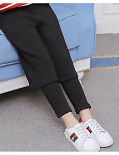 billige Bukser og leggings til piger-Pige Bukser Ensfarvet, Bomuld Rayon Vinter Efterår Afslappet Sort
