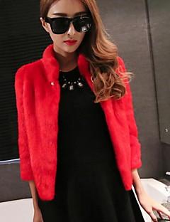 저렴한 -여성 솔리드 스탠드 모피 코트,단순한 캐쥬얼/데일리 짧은 여우 모피 겨울 가을 대형