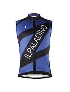 billige Sykkelklær-ILPALADINO Herre Ermeløs Sykkeljersey - Mørkeblå Lapper Sykkel Vest Jersey Singleter, Fort Tørring Miljøvennlig Polyester 100% Polyester / Elastisk