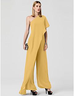 billiga Balklänningar-Jumpsuit Enaxlad Golvlång Chiffong Formell kväll Klänning med Draperad av TS Couture®