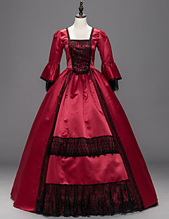 Victorian Rococo Female One-Piece/Dress Red Cosplay Satin Long Sleeves Floor Length