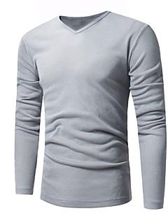 tanie Męskie swetry i swetry rozpinane-Męskie Praca W serek Długi Rozpinany Jendolity kolor