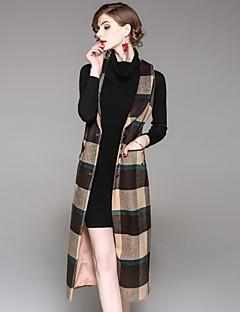 レディース お出かけ カジュアル/普段着 秋 冬 ベスト,ストリートファッション シャツカラー カラーブロック ロング ウール ポリエステル エラステイン ノースリーブ