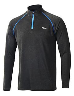 Arsuxeo Herre Løbe-T-shirt Langærmet Forside Lynlås Åndbart Blød Svedreducerende letvægtsmateriale Reducerer gnavesår Strækbart T-Shirt