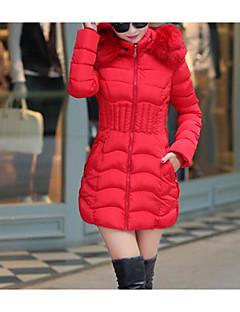 Damen Daunenjacke Mantel Einfach Lässig/Alltäglich Solide-Baumwolle Langarm