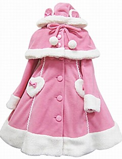 Steampunk® Cosplay Lolita Dress Pink Black White Solid Color Long Sleeves Cloak For Wool Woolen